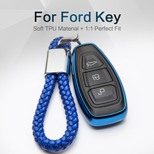 Car Key Case Cover For Ford Fiesta Mk7 Fusion Focus Mk3 Ka Mondeo 3 Mk4 S C Max Ecosport Everest Galaxy TPU Keyring Accessories car sunshade front rear window windshield cover for ford focus 2 3 mk2 mk3 mk4 mondeo 4 fiesta fusion mustang exploler ecosport