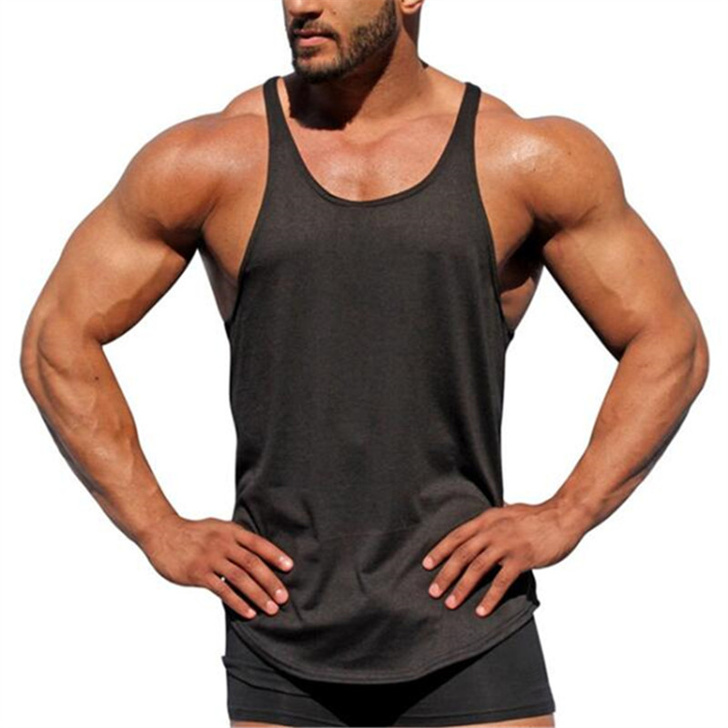 Bodybuilding   Tank     Top   Men's Sleeveless Shirts Brand Clothing Fitness Men Singlet Blank Cotton Workout Stringer Gyms Vest