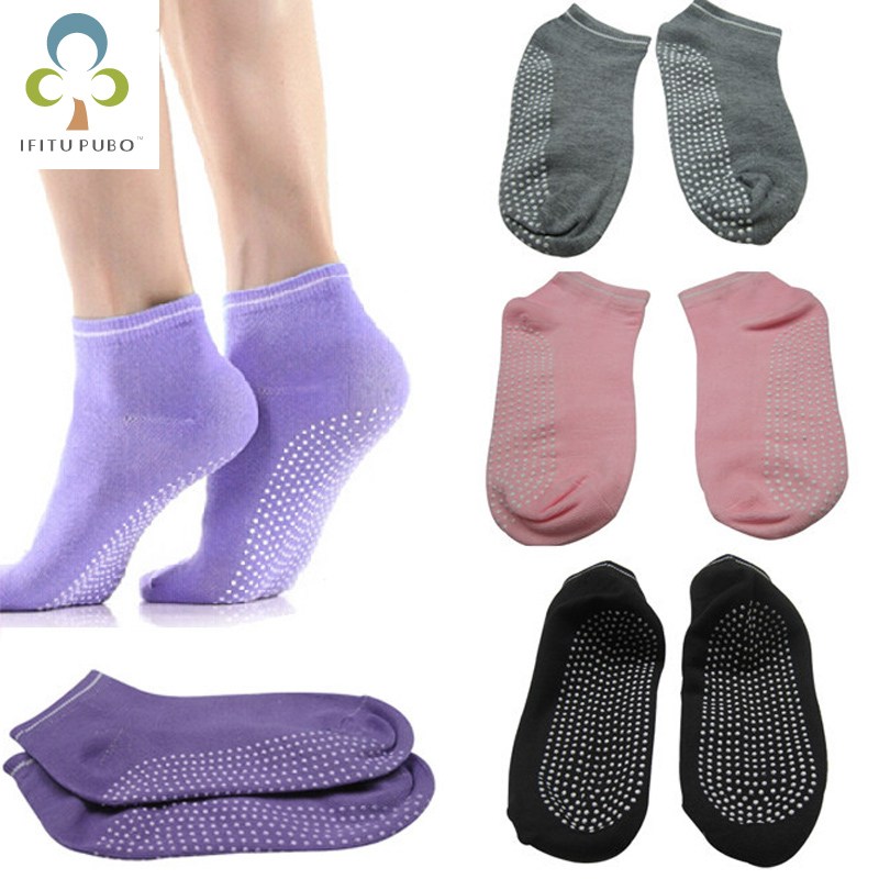 Perfect Anti-Slip Yoga Ankle Grip Cotton Pilates Socks Women breathe freely Yoga Ballet Socks Silicone Massage WYQ non slip toeless yoga socks with grip for women