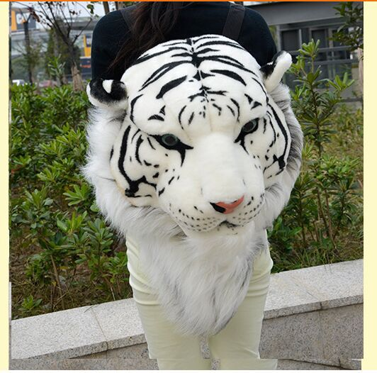 Simulation White Tiger Head Backpack Stuffed Steller's Tiger Head Backpack Gift Doll