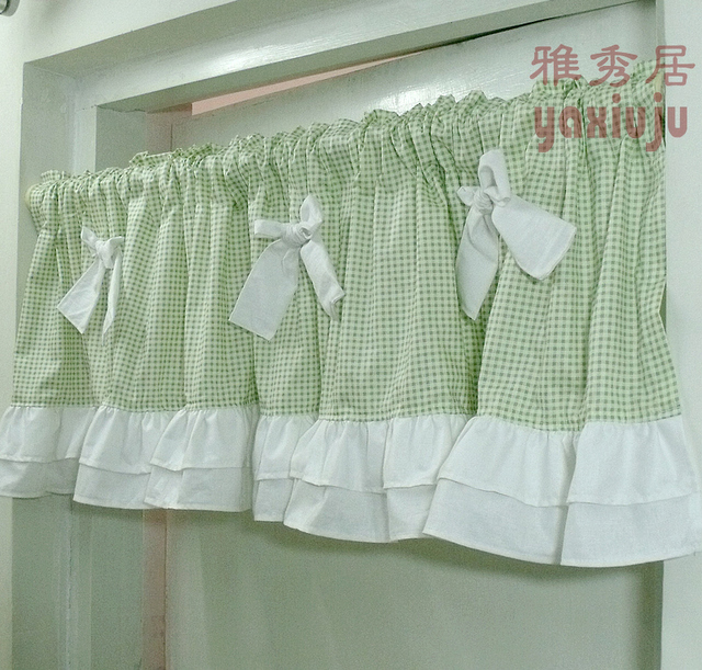 Free Shipping Green Plaid Bow Beautiful Coffee Curtain Semi Shade Small Short Kitchen Curtains