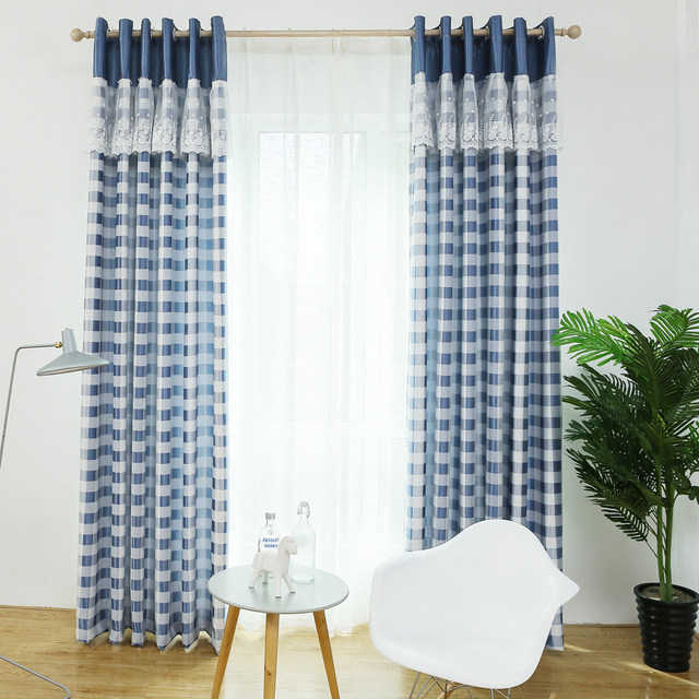 korte wit blauw plaid verduisterende gordijnen met kant voor slaapkamer moderen gordijnen voor woonkamer