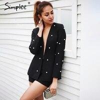 Simplee OL Work Wear Pearl Women Suits Blazer Office Uniform Style Lady Suits Chic Vintage Jumpsuit