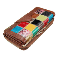 5 Pcs Of VSEN Hot Women Ladies Leather Patchwork Wallet Long Zip Purse Card Holder Clutch