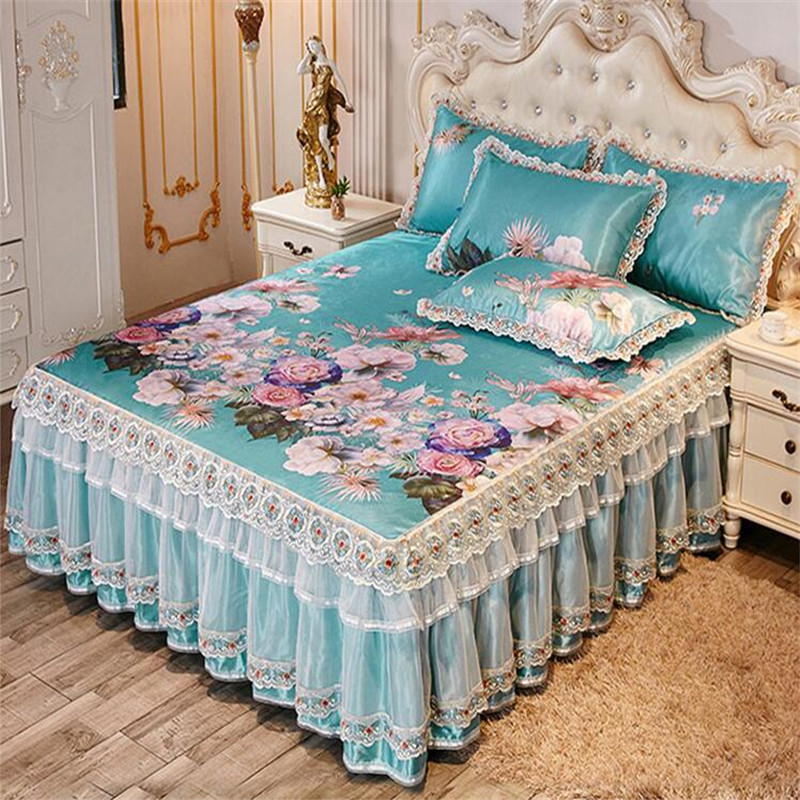 European luxury <font><b>skirted</b></font> bed sheet 3pcs soft lace bedspreads summer cool bed mat quality bed cover machine wash free shipping image