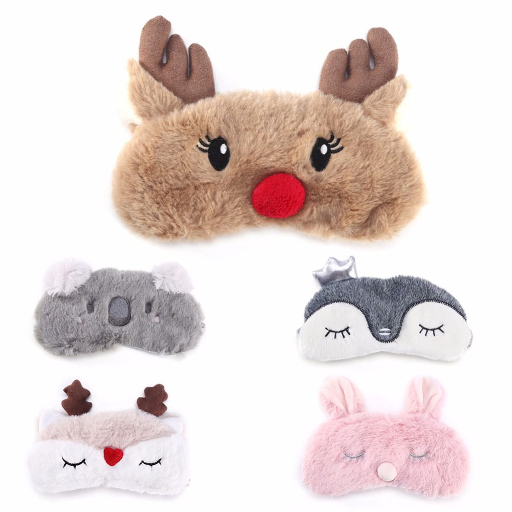 Christmas Deer Cute  Animal Eye Cover Plush Fabric Sleeping Mask Eyepatch Winter Cartoon Nap Eye Shade For Christmas Gift