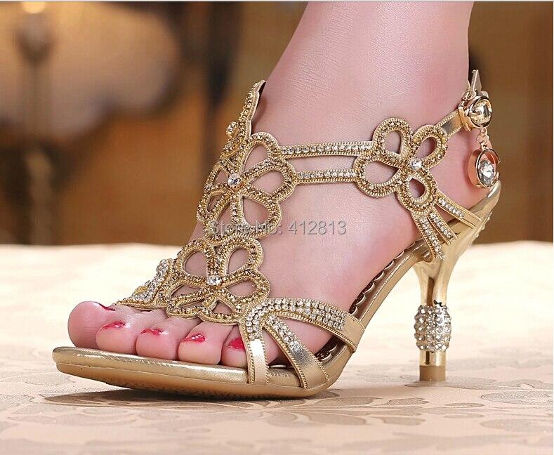 Gold Blue Sandal Floral Crystal Rhinestones Women Lady Bridal
