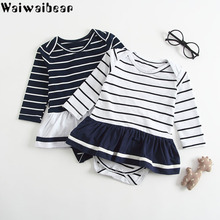 Newborn Baby Girls Rompers Toddler Long-Sleeved Striped Tutu Skirted Jumpsuitd Outfits Clothes