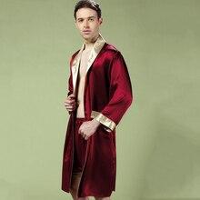 Шелковые спальные халаты Мужчины Весна Осень халат с длинными рукавами шорты комплекты из 2 предметов кимоно шелкопряда шелковая мужская одежда для сна