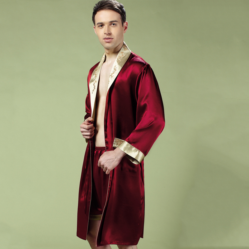 100% Silk Sleeping Robes Male Spring Autumn Long-Sleeve Bathrobe Shorts 2-Piece Sets Kimono Silkworm Silk Men's Sleepwear