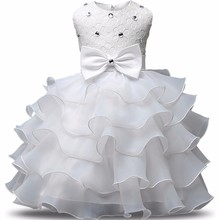 White Baby Kids Girl Dress Toddler Princess Party Tutu Dress for Girls Clothes Infant Dresses 1 Year Birthday Wedding Tutu Gown