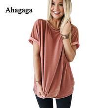 Ahagaga осень 2017 г. футболки женские модные топы однотонные розовые круглым вырезом элегантные милые бархатные пикантные женские футболки blusas