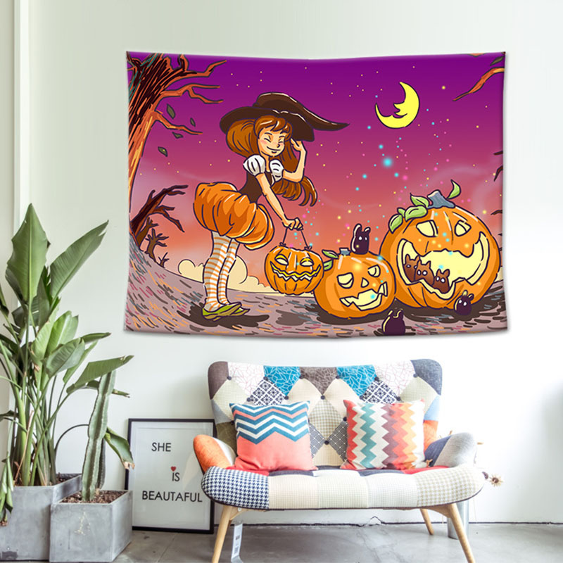 CUSCOV New Halloween Party Tapestry Night Moon Microfiber Fabric Wall Hanging for Kid Decoration Black Bedlinen Pumpkin Sheet in Tapestry from Home Garden