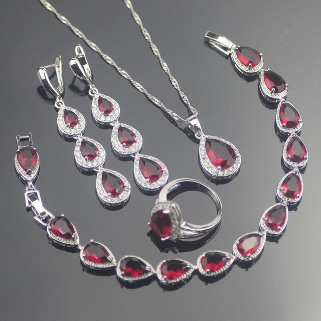 Drop Red Created Ruby White Topaz 925 Sterling Silver Jewelry Sets For Women Earrings/Rings/Pendant/Necklace/Bracelets Free Box