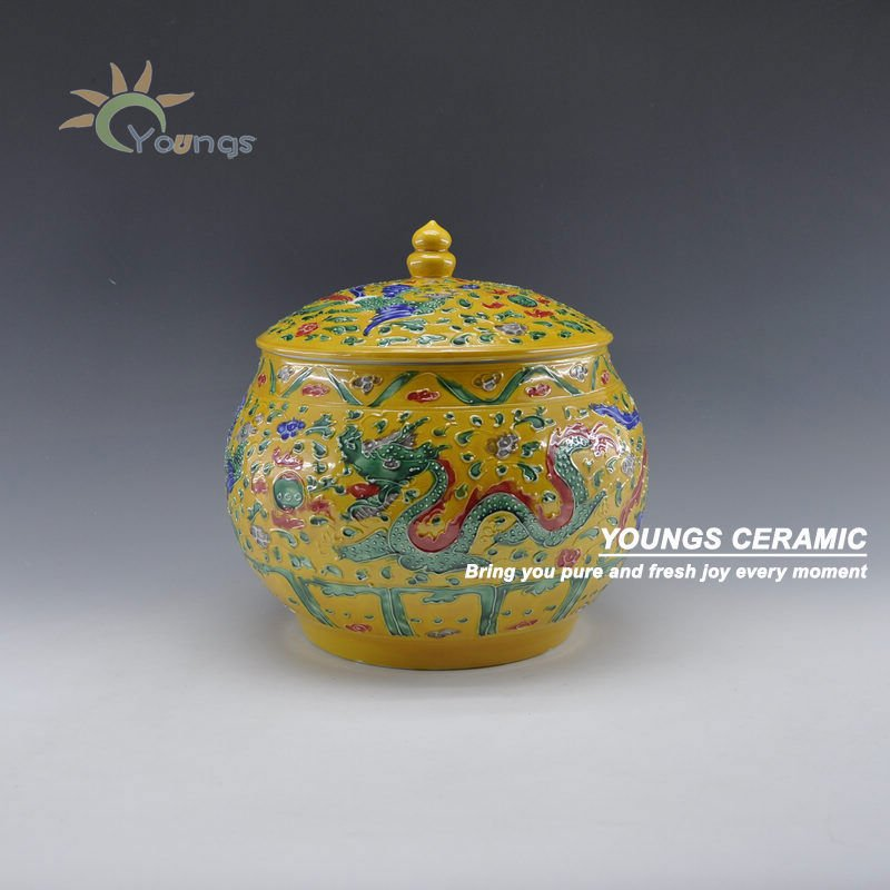Chinese Famille Rose Porcelain Yellow Dragon And Phoenix