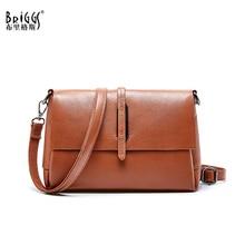 BRIGGS high quality genuine leather women shoulder bag female handbag Flap