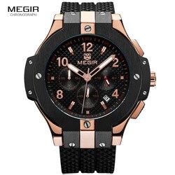 Armia sport Chronograph zegarki kwarcowe mężczyźni czarny silikonowy wojskowy stoper zegar człowiek Relogios Masculino 2050G
