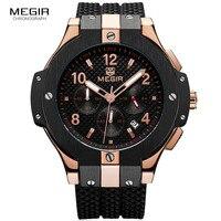Army Sports Chronograph Quartz Wrist Watches Men Black Silicone Military Stop Watch Clock Man Relogios Masculino 2050G