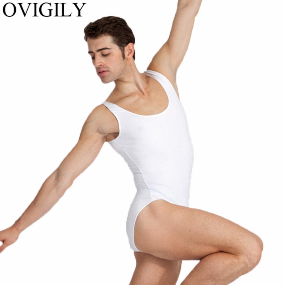 OVIGILY Black Mens Dance Tank Leotard Boys Sleeveless Ballet Leotards Lycra Spandex Bodysuits Workout Leotards For Male Dancers