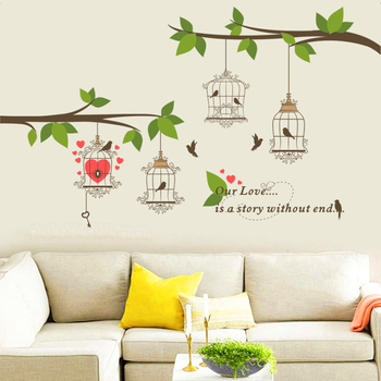 love birds birdcage tree branch wall stickers home decor living room TV background pvc decals diy mural posters art