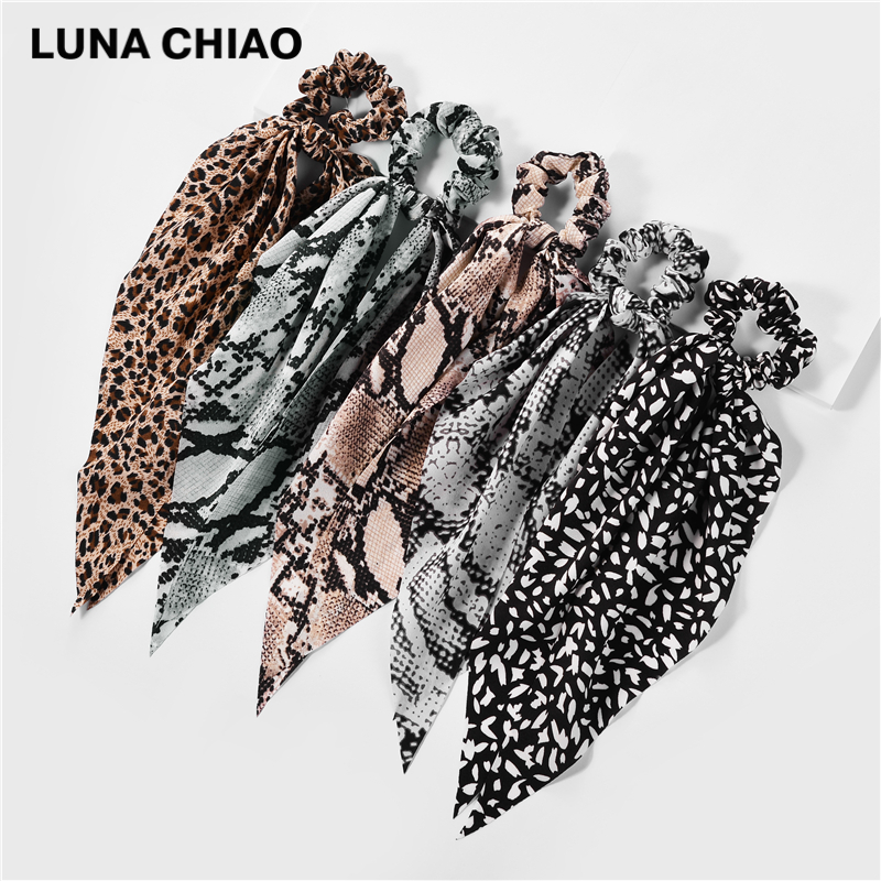LUNA CHIAO 2020 Fall Colors Leopard Snake Skin Patterns Hair Scarf 5pieces/set Fabric Elastic Hair Band Scrunchies with Tail