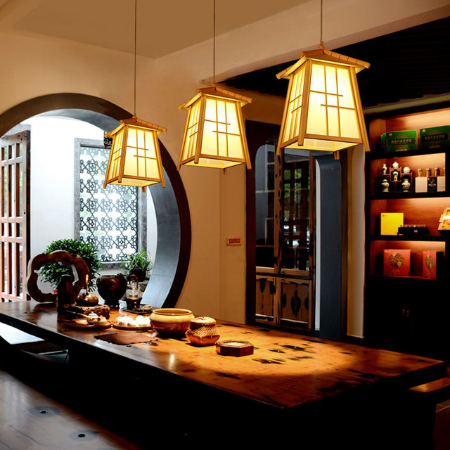 Anese Tatami Solid Wood Small Pendant Lights Creative Chinese Coffee Bar Table Restaurant Lighting