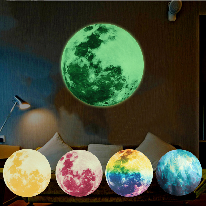Home Decor Light Luminous Stickers Home Room Decoration Luminous Moon Wall Stickers Glow In The Dark Mural Art Wallpaper