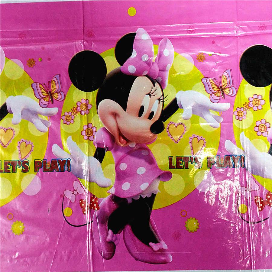108*180cm kırmızı pembe Minnie Mouse masa örtüsü çocuk kız doğum günü tek kullanımlık dekorasyon masa örtüsü kapak bebek duş parti malzemeleri