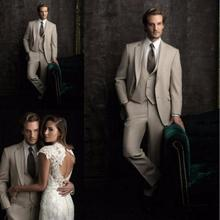 New Custom Made Beige Groom Tuxedos Slim Fit Mens Wedding Prom Suits Bridegroom Groomsman Suit(Jacket+Pants+Vest)