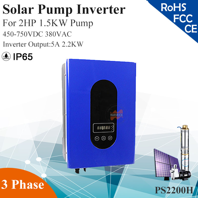 2.2KW 5A 3phase 380VAC MPPT solar pump inverter with IP65 for 2HP 1.5KW water pump Full automatic operation solar pump inverter professional design 3 phase ac pump inverter 2 2kw customized inverter