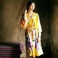 2016 Kimono Robes de Seda Para As Mulheres Cetim Roupão Robes De Seda Longos Para Damas de Honra Longue Femme Mulheres Roupão Robe De Dama De Honra