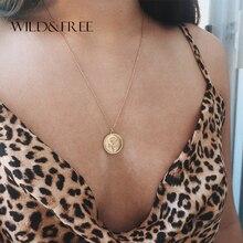 Дикое и свободное круглое ожерелье с подвеской для женщин, простое длинное ожерелье из сплава с золотыми монетами, воротник в виде цветка розы, Женские Ювелирные изделия