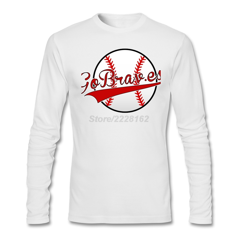 White t shirt for design - Go Braves Tshirt Men S Design White Punk T Shirt With Base Ball Design For Males Awesome