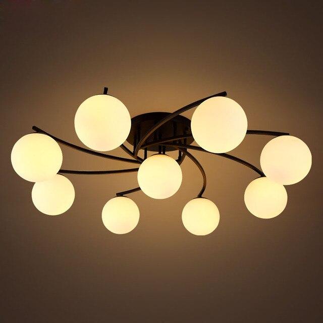 € 143.71 |T Américain Style De Luxe Plafonnier Pour Chambre Salon Moderne  Simple lampe En Verre Cheminée De Fer Lumière Meilleur prix dans  Plafonniers ...
