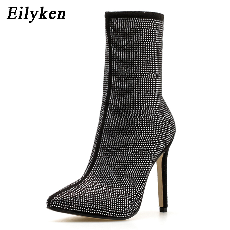 Image 3 - Eilyken Women  Ankle Boots Plus Size 35 42 Rhinestones High Heels Shoes Woman Zip Pointed Toe Sexy Motorcycle Boots For Females-in Ankle Boots from Shoes