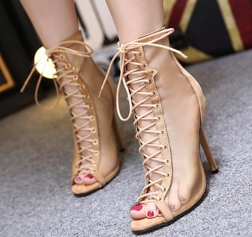 ФОТО AVVVXBW 2017 Spring Women's Shoes Cross Strap Gladiator Sandals Sexy High Heels Fish Mouth Hollow Outs  Mesh Pumps Shoes C423