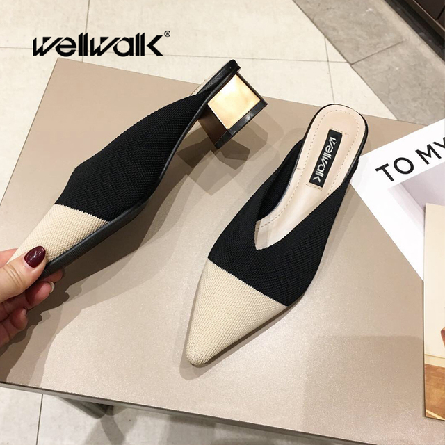 Wellwalk Pointed Toe Slippers Ladies Heel Shoes Women Mules Flyknit Textile Pumps Open Back Loafers Women Mixed Colors Design