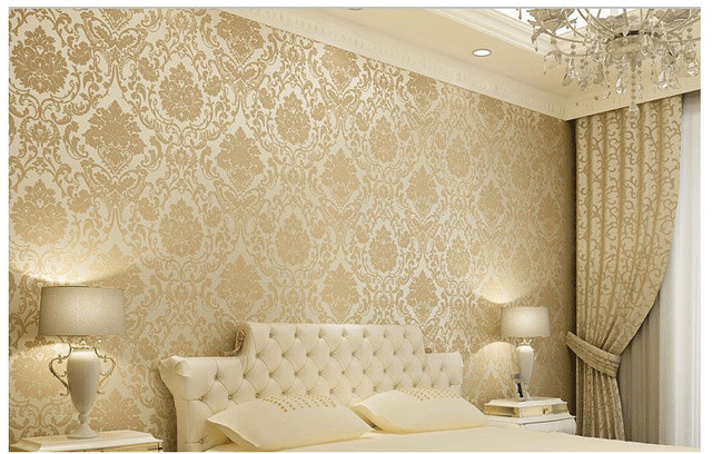Vintage classic beige french modern damask feature wallpaper wall paper roll for living room bedroom tv
