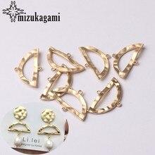Accesorios para la fabricación de joyas, conectores de dijes en forma de abanico hueco de Metal de aleación de Zinc chapado en oro, 11x22MM, 10 unids/lote