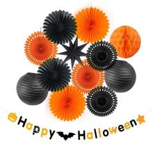 SUNBEAUTY Halloween Decoration Set hanging Paper Fans Lantern Honeycomb Balls Happy Banner Party Decor