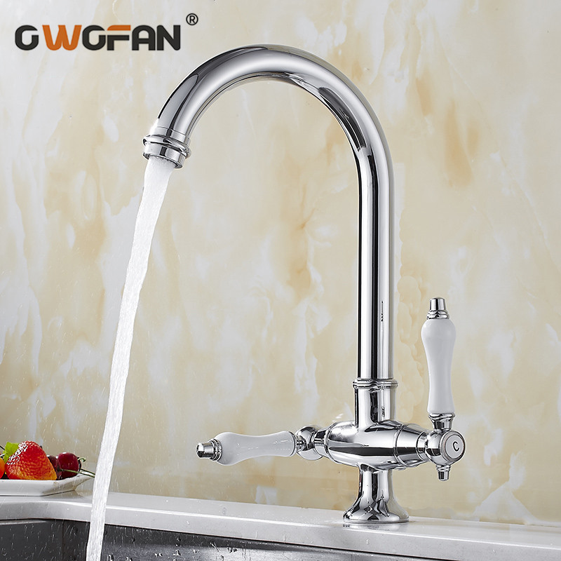 Kitchen Faucets Dual Handle Faucet 360 Rotate Deck Mounted Kitchen Faucet Chrome Single Holder Single Hole Mixers Taps  N22-160