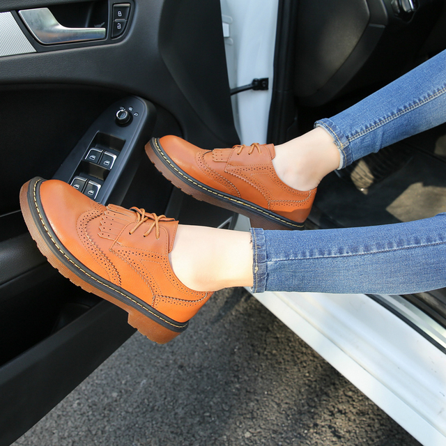 HEE GRAND Spring Brogue Shoes Woman 2017 New Oxfords Tassel Casual Flats British Style Platform Women Shoes Size 35-43