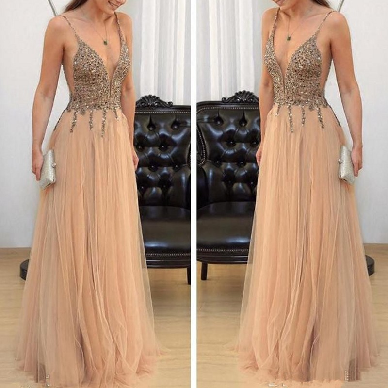 New Arrival V Neck Dresses For Women Party Dress Beaded Formal Dress Vestido High Quality Robe De Soiree Evening Gowns Tulle-in Dresses from Women's Clothing    1