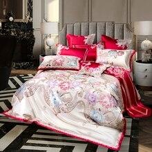 Funda de edredón Paisley floral Jacquard de lujo 4/6/10 Uds tamaño King Queen Vintage Juego de cama real satén azul de algodón rojo