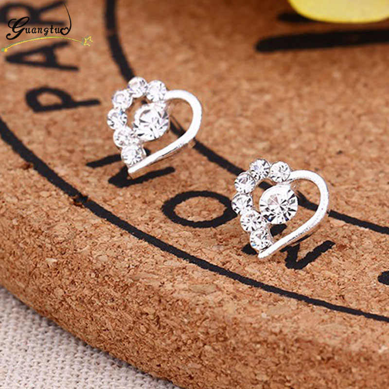 Cute Bijoux Crystal Heart Stud Earrings For Women Party Daily Wear Jewelry Wedding Accessories Wholesale Brincos Small Earring
