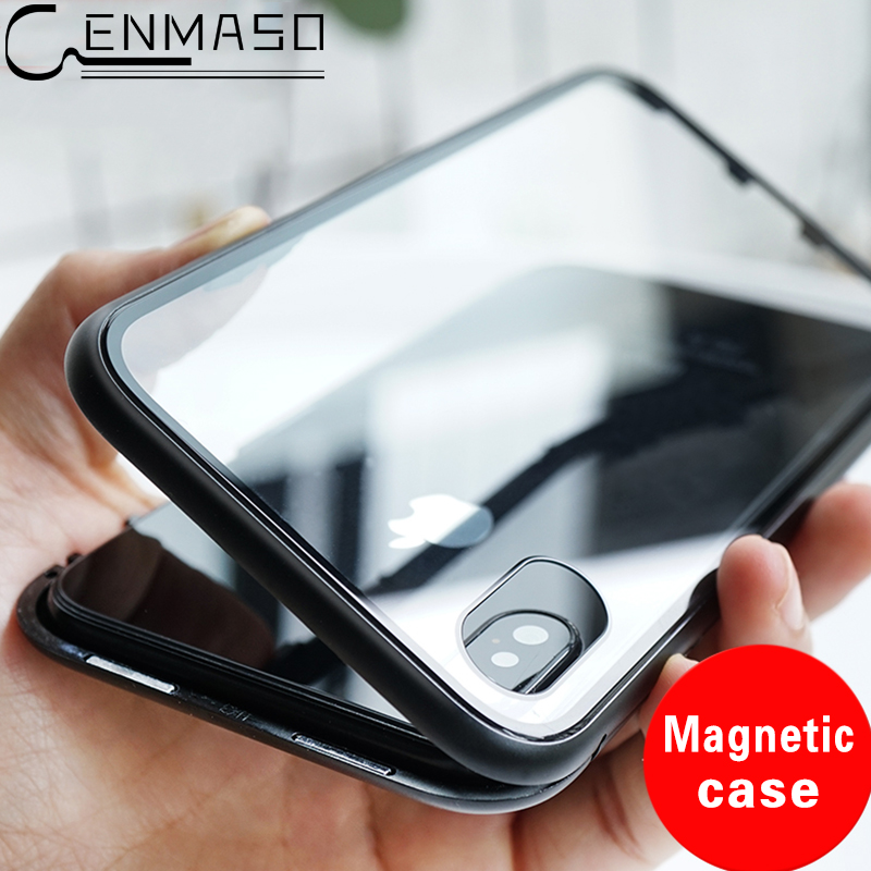 For IPhone X Case Magnetic Adsorption Cover for IPhone 7 Plus 8 Plus Case Clear Tempered Glass Built-in Magnet for IPhone 7 Case