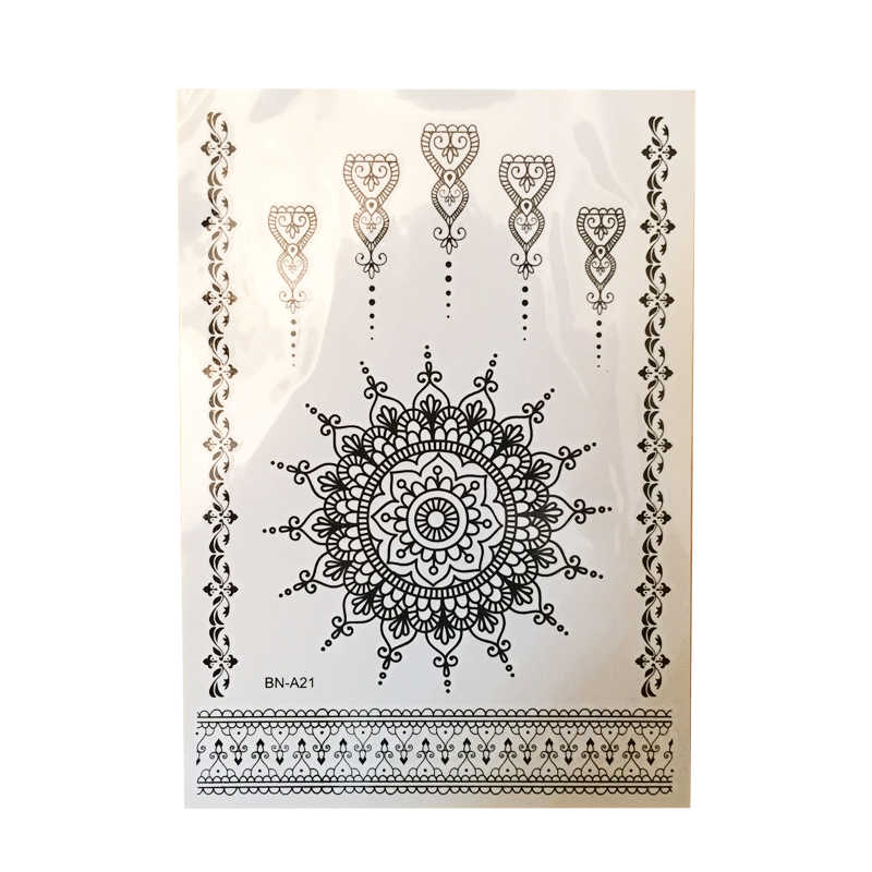 1PC Fashion Flash Waterdichte Tattoo Vrouwen Zwarte Henna Jewel Lace Sexy Secret Arm Body Art Bloem Tijdelijke Tattoo Sticker