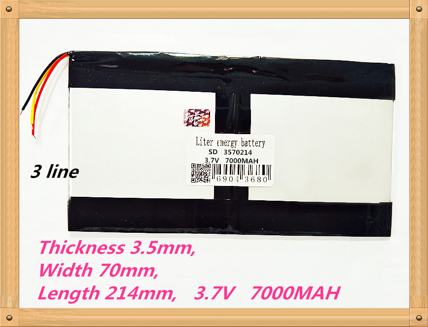3 line 3570214 3.7V 7000MAH Rechargeable batteries 3510770*2 tablet battery brand tablet gm lithium polymer battery taipower onda 8 inch 9 inch tablet pc battery 3 7v 6000mah 3 wire 2 wire lithium battery