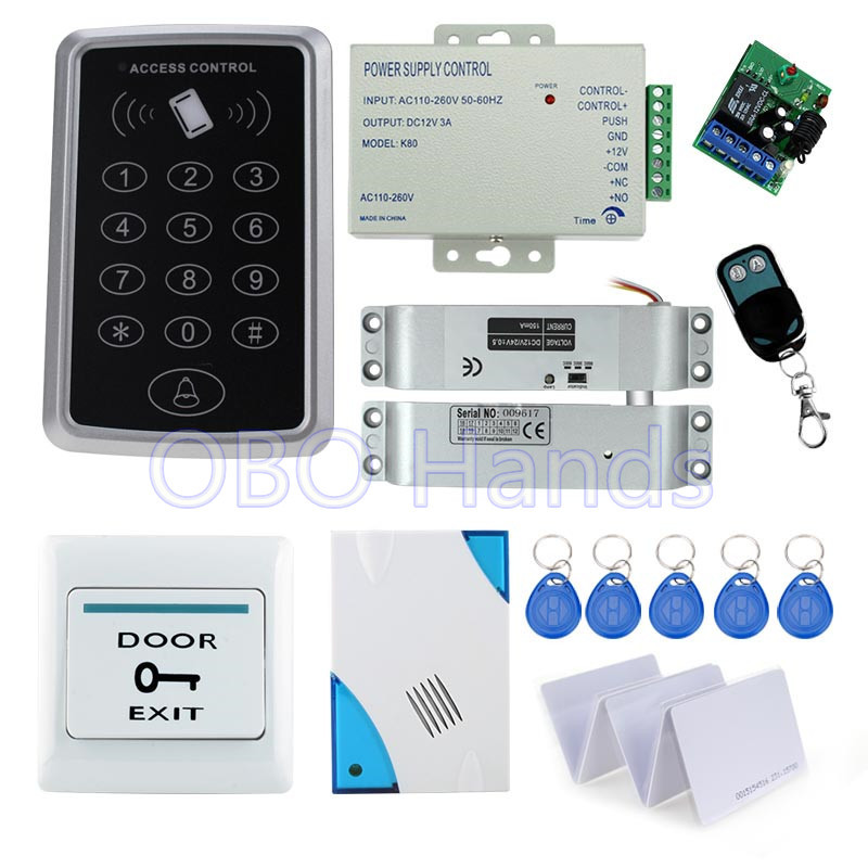 Full access control RFID card reader T11+electric drop bolt lock+3A/12V power supply+exit button+10pcs key cards+remote control full rfid fingerprint scanner machine biometric access control f007em electric drop bolt lock power supply exit button keychains
