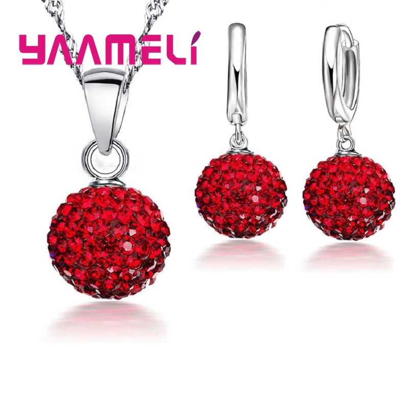 925 Sterling Silver Bridal Rhinestone Jewelry Sets For Women Wedding Gifts CZ Paved Disco Ball Necklace Hoop Earrings